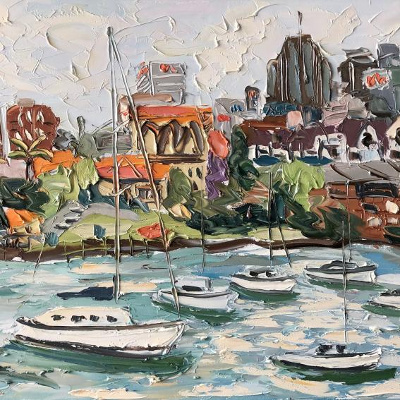 Image: Sally West, North Sydney wharf from Kurraba – Plein Air, 2018, oil on canvas, 120 x 150 cm. From 2019 Artists of Mosman: 2088 exhibition.