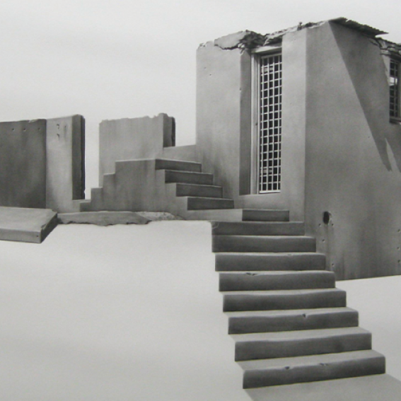 Image: Catherine O'Donnell, Silent Sentinel, 2013, charcoal on paper, 150 x 216 cm