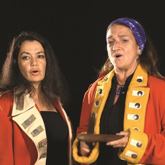 Image: Biripi Lament, 2015, performed by Leah Flanagan, Leanne Tobin, Chantelle Woods (audio only) and Sandy Woods (audio only). Traditional chant recorded in writing by L.E. Threkeld in early 19th Century. Various lengths. Still from performance featuring Leah Flanagan and Leanne Tobin.