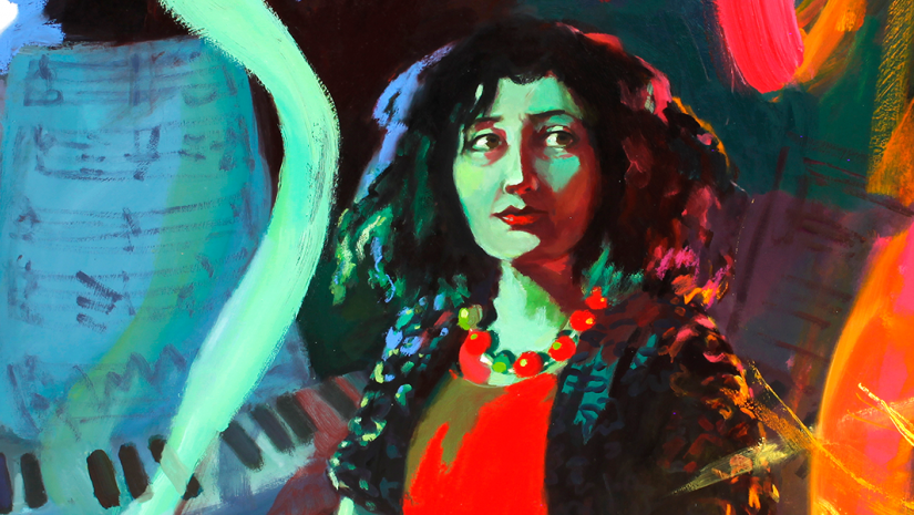 image: Wendy Sharpe, The Witching Hour - Elena Kats-Chernin (detail), 2017, oil on canvas, 150 x 150 cm. National Portrait Gallery Collection. Courtesy of the artist.