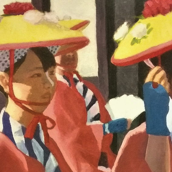 Image: Peter Clague, Japanese dancers (detail), 2019, acrylic on canvas, 76 x 50 cm